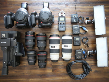 Rent: Camera package with cinema cameras, lenses, batteries, etc.