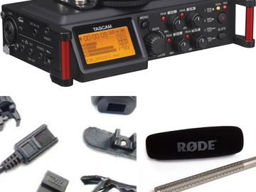 Rent: Interview Audio Kit:  Rode Shotgun, Tram Lav, and Tascam 70D