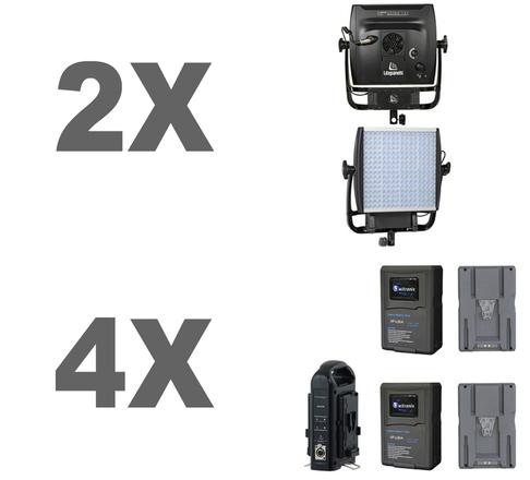 2 Litepanes Astra Lights + 4 V mount Batteries