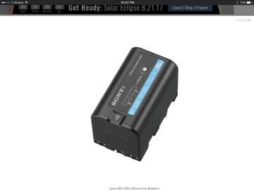 Rent: Sony BP-U30 Lithium-Ion Battery