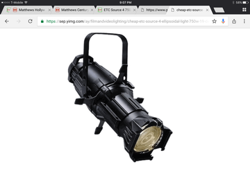 "Rent: ETC Source Four 750 Watt ""Leko"" Ellipsoidal Spotlight 26 deg"