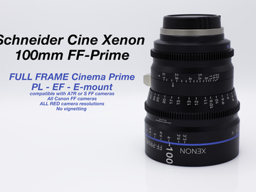 Rent: Schneider Xenon FF 100mm EF PL or E-mount lens - T2.1