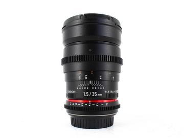 Rent: Rokinon 35mm T1.5 AS UMC Lens, Canon fit