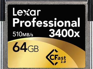 Rent: Set of (2)Cfast 2.0 cards 65GB Lexar Professional 3400X