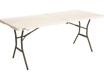 Rent: Five 6ft Fold-In-Half Tables (5)