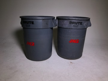 Rent: Brute two 50 gallon Gray production trash cans