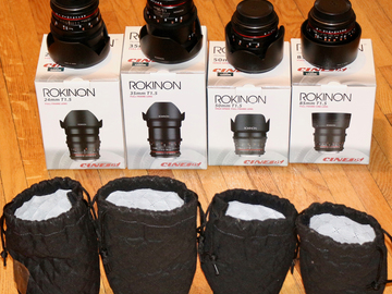 Rent: Rokinon 24, 35, 50, 85mm T1.5 CineLens Kit (Canon EF/Sony E)