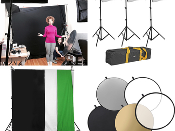 Impact 3-Light Kit with Stands, Softboxes, Chroma Key, etc.