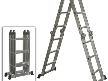 Rent: HD aluminum 2 sided, adjustable step ladder