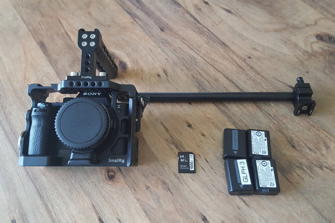 Sony Alpha a7S II w/ EF Adapter + 4 batteries + Cage + Media