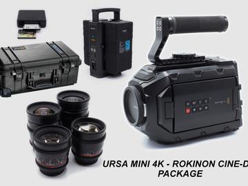 Rent: Black Magic URSA Mini 4K EF Package with 4 Rokinon DS Lenses