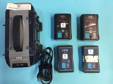 4 IDX Edura V-Mount Batteries and 4 Battery Charger