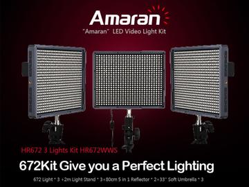 Rent: Aputure Amaran HR672 3 LED kit- 2 spot, 1 bi-color flood