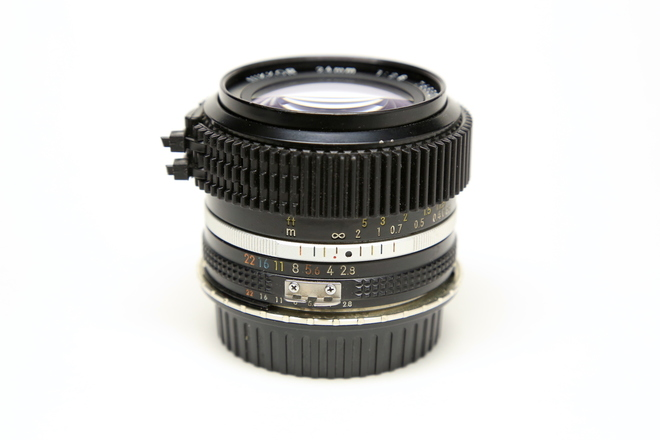 Nikon 24mm f/2.8 AI-S Declicked & ZipGeared w/ EF adaptor