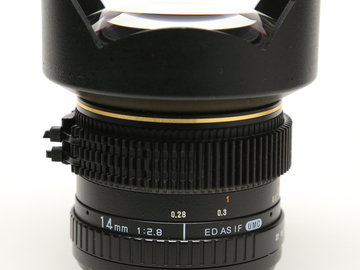 Rent: Rokinon 14mm f/2.8,  For Canon EF, Declicked & ZipGeared