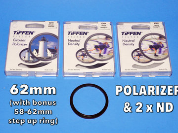 Rent: Tiffen 62mm Filter Set With Polarizer, 2 x ND (& 58-62 ring)