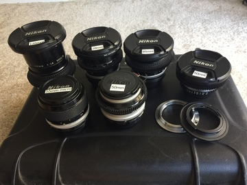 Rent: Set of Nikkor Prime Lenses (with 2x EF adapters)