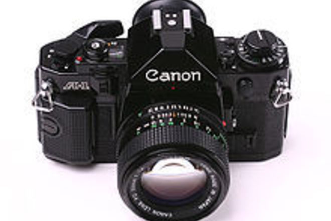 Canon A-1 film SLR kit with 3 lenses