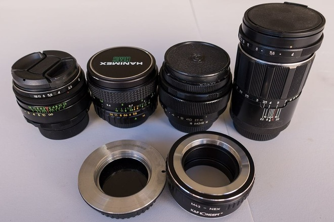 Vintage M42 lenses with an EOS and E-mount adapter