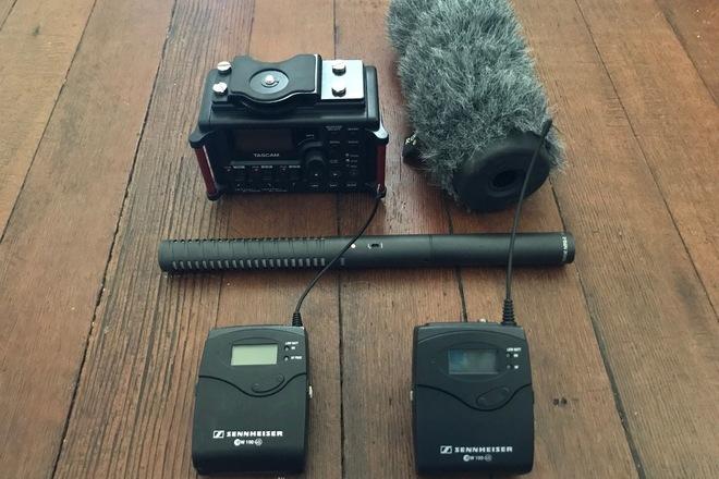 Sennheiser ew 100 ENG, Tascam DR-60D II, Rode NTG 2, Boom