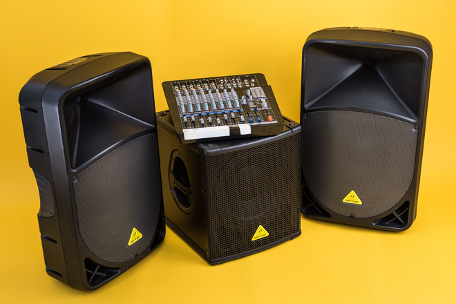 Pro PA System Behringer Speakers/Sub and Samson 12-ch Mixer