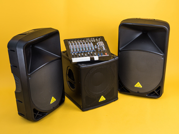 Rent: Pro PA System Behringer Speakers/Sub and Samson 12-ch Mixer