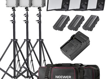 Rent: 3x Neewer 160 LED Light Kit w/ Stands + Softboxes