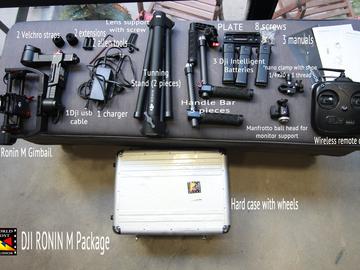 DJI Ronin M 3 batt, DJI extensions, monitor mount, hard case