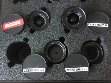 Zeiss Distagon Lens Set 25, 35, 50 macro, 85 with CineMod