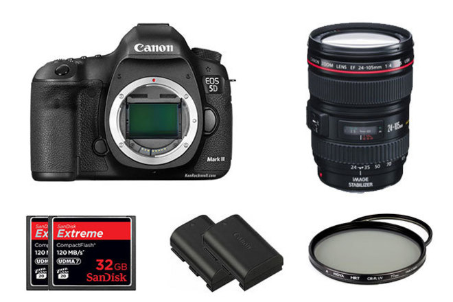 Canon 5D MKIII package with 24-105 L series lens