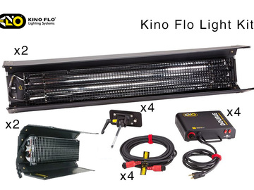 Rent: Kino Flo Kit 4 Lights, 2x 4' 2Bank 2x 2' 2Bank Interview Kit