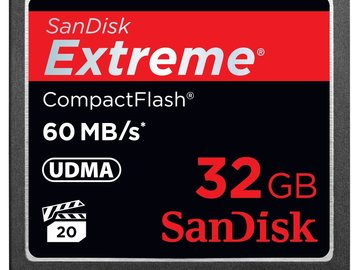 Rent: Compact Flash 32gb (60 MB/sec) CF Card