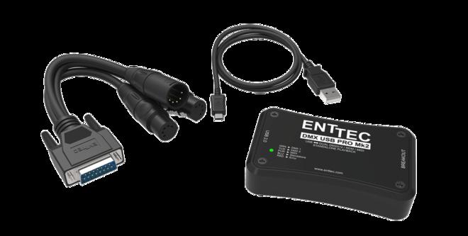 Enttec DMX USB Pro2 1024-Ch USB DMX + 2x 25' DMX Cables