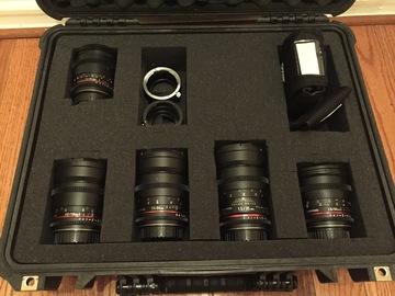 Rent: Rokinon Cine Lens EF Set w/ Sony E & MFT Adapter - 5 Lenses