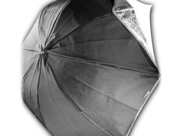 """Rent: Calumet 46"""" Silver/White Umbrella"""