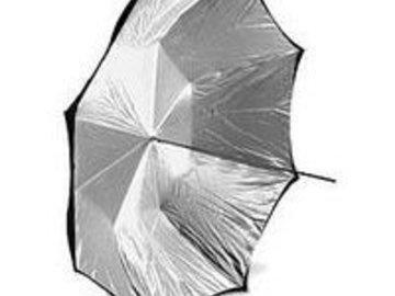 """Rent: Calumet 60"""" Silver/White Umbrella"""