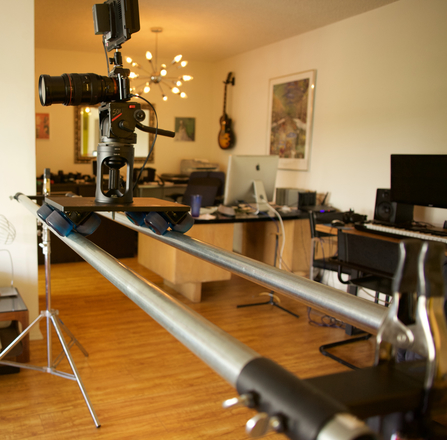Dana Dolly w/ 7' speed rails, Manfrotto 501 head, stands