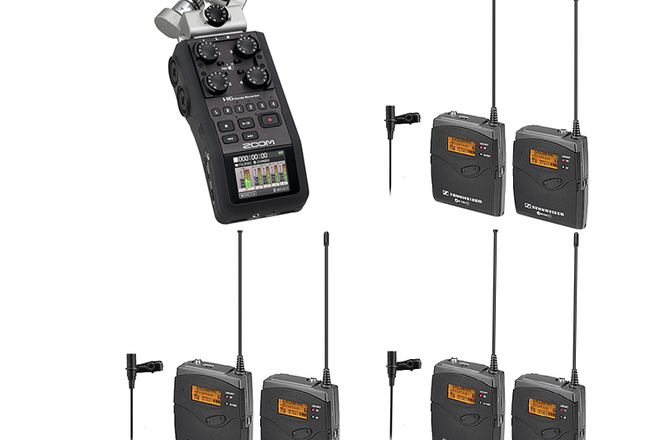 H6 Zoom Recorder with 3 Wireless LAV Sennheiser LAVS