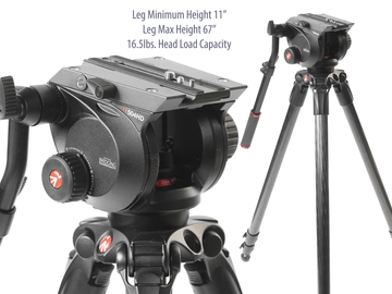 Rent: Manfrotto 504HD Head with 535 Carbon Fiber Tripod Legs