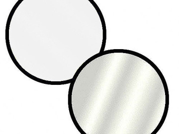 "Rent: COLLAPSIBLE CIRCULAR REFLECTOR DISC 32"" SILVER / WHITE"