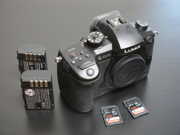 Panasonic Lumix GH5 Camera body w/ batteries and SD cards