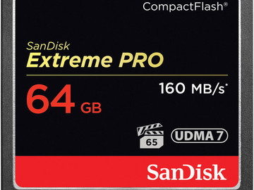 Rent: (2) SanDisk 64GB Extreme Pro CF Card (160MB)