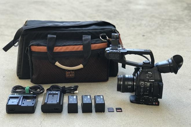 Canon C100 Mark II w/ EF 35mm f/2 IS USM Lens, 3x Batteries