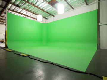 Rent: 7,000 sq ft stage w/ 25ft high Green Screen and White Cyc