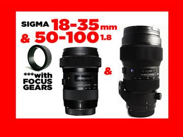 Sigma 18-35mm & 50-100mm  f/1.8 EF w/Focus Gears
