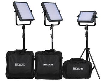 3 Dracast LED Lite Panels w/Barn Doors & Stands