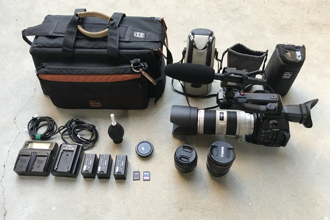Canon C100 MKII, 70-200 f/2.8L IS II, 24-105, 35mm, and Mic