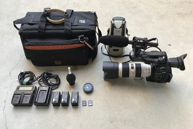 Canon C100 MKII, 70-200mm f/2.8L IS II USM, and Senn Mic