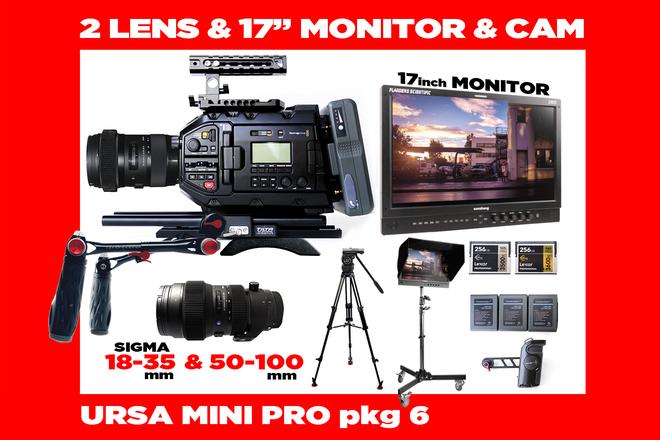 "URSA Mini Pro 4.6K + 2  Lenses + Flanders 17"" Monitor"