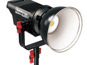 Rent: Aputure 120D Kit - Fresnel Lens, Octagonal Softbox, V Mounts
